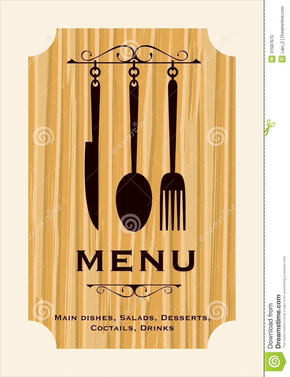 Restaurant menu design stock photo image