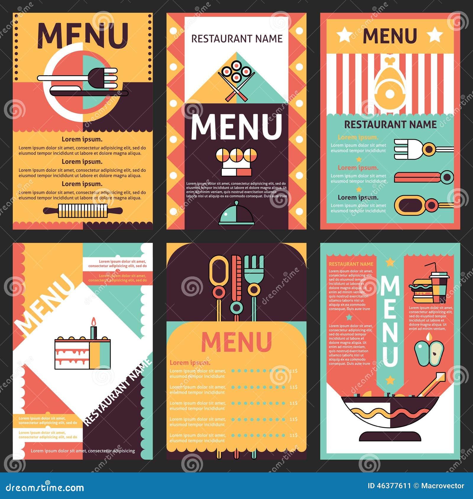 abstract modern restaurant menu list designs set with decorative