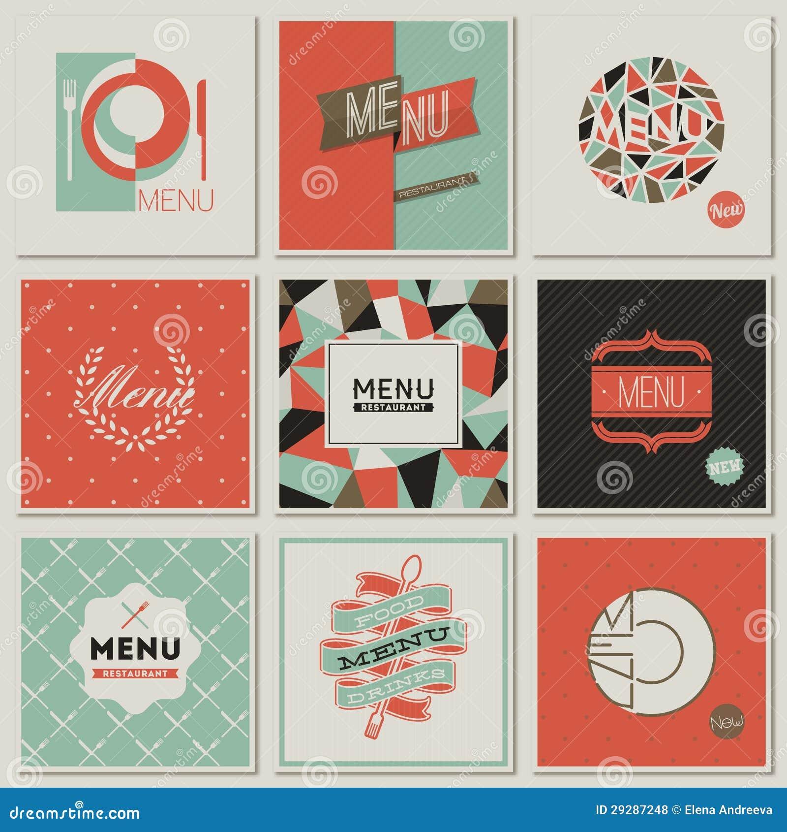 Restaurant Menu Designs Retro styled Vectors Royalty Free