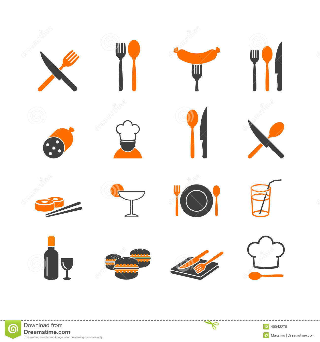 Restaurant Kitchenware restaurant menu kitchenware icons button logo stock vector - image