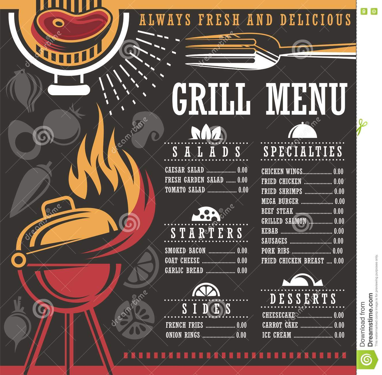 Restaurant Menu Layout Stock Vector - Image: 71876033