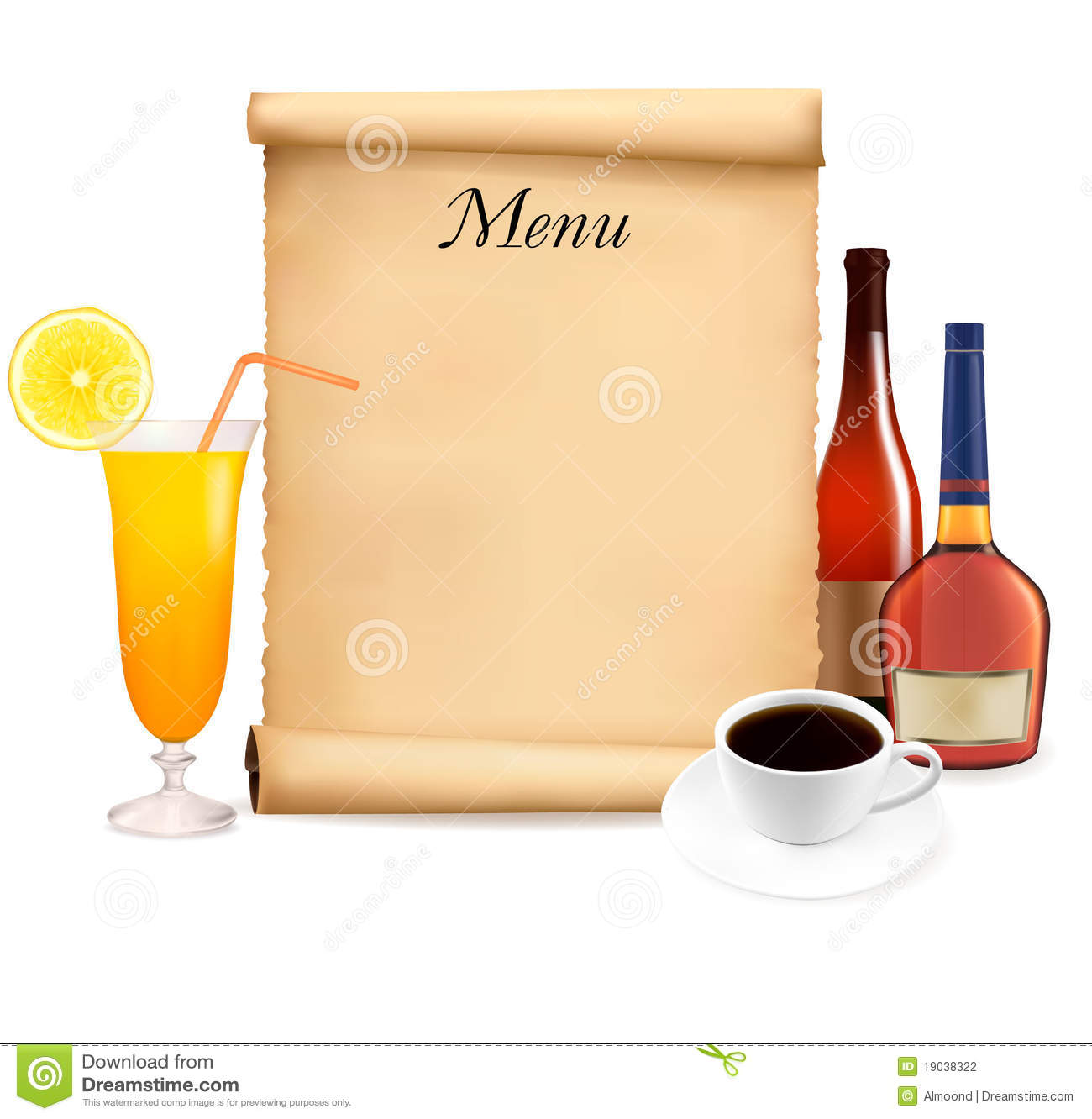 restaurant menu on the old scroll of paper stock vector