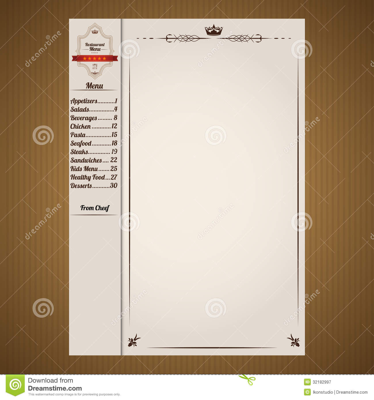 Restaurant Menu Page Template  Free Downloadable Restaurant Menu Templates