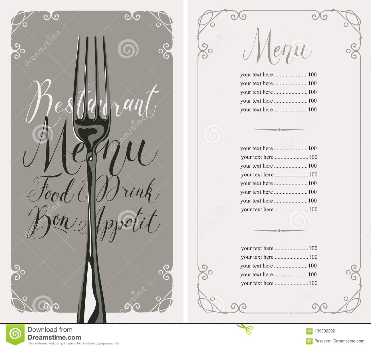 Restaurant Menu With Price List And Realistic Fork Stock Vector ...