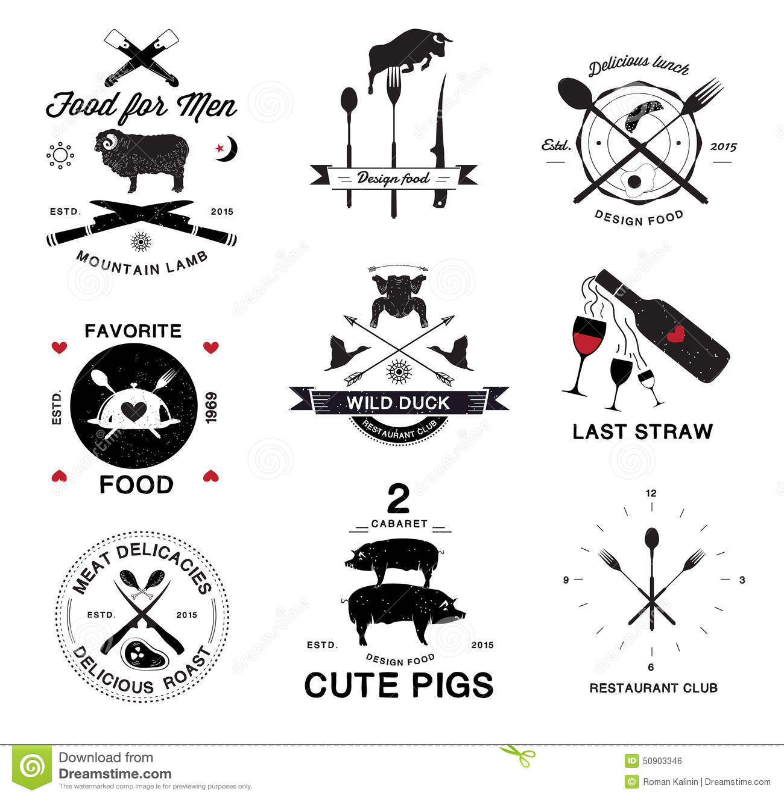 Restaurant menu retro logo and design elements stock