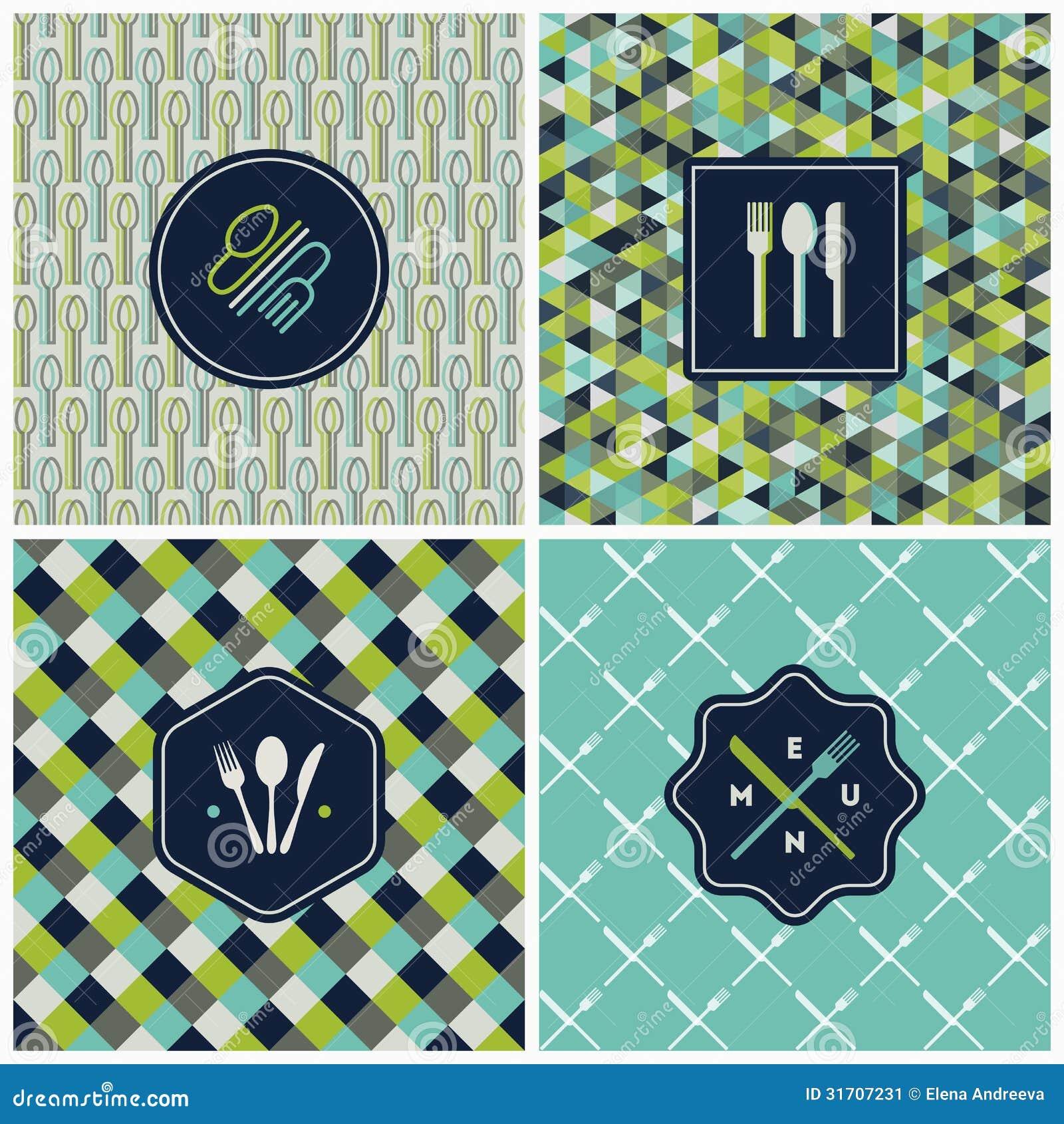 Restaurant menu seamless pattern. Vector set