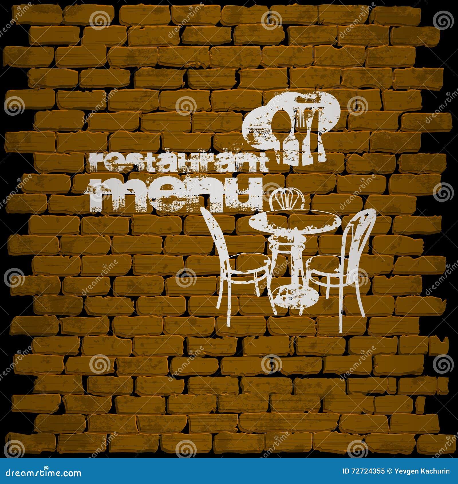 restaurant menu template on a brick wall uno stock vector
