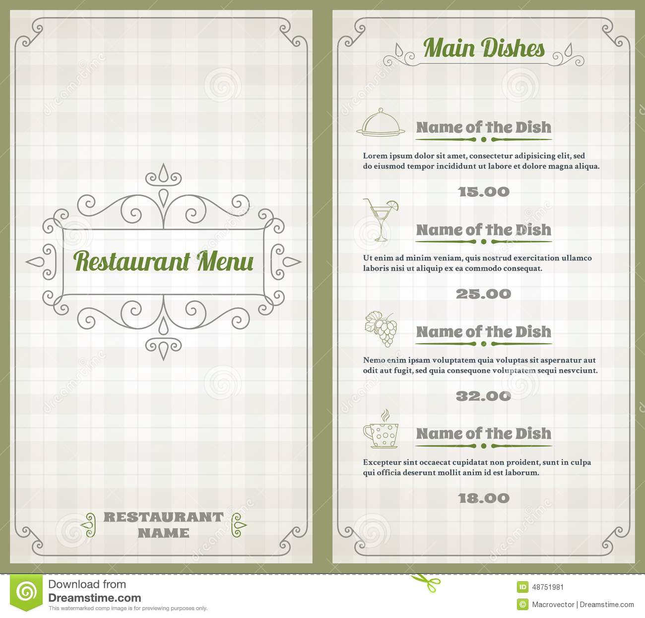 Elegant restaurant menu list with decorative elements on squared ...