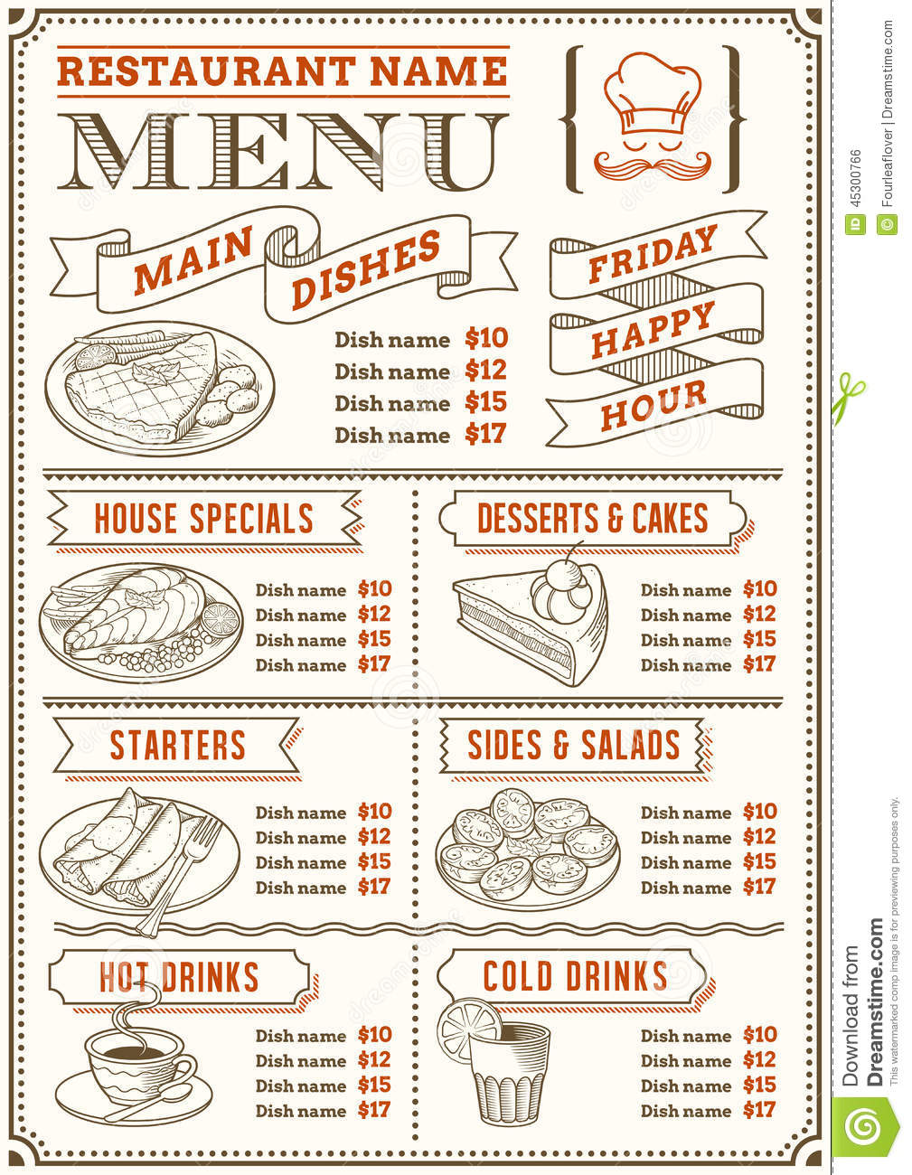 Restaurant Menu Template Stock Vector Illustration Of Flyer