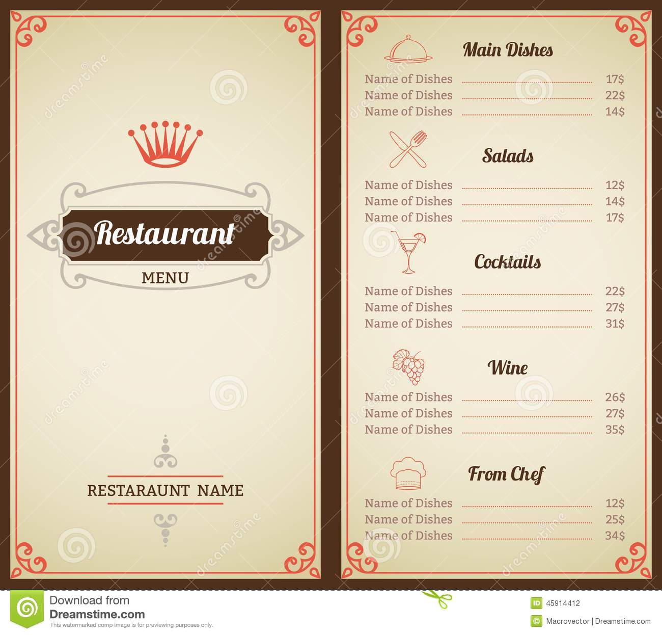 Restaurant Menu Template. Royalty Free Vector  Free Wine List Template