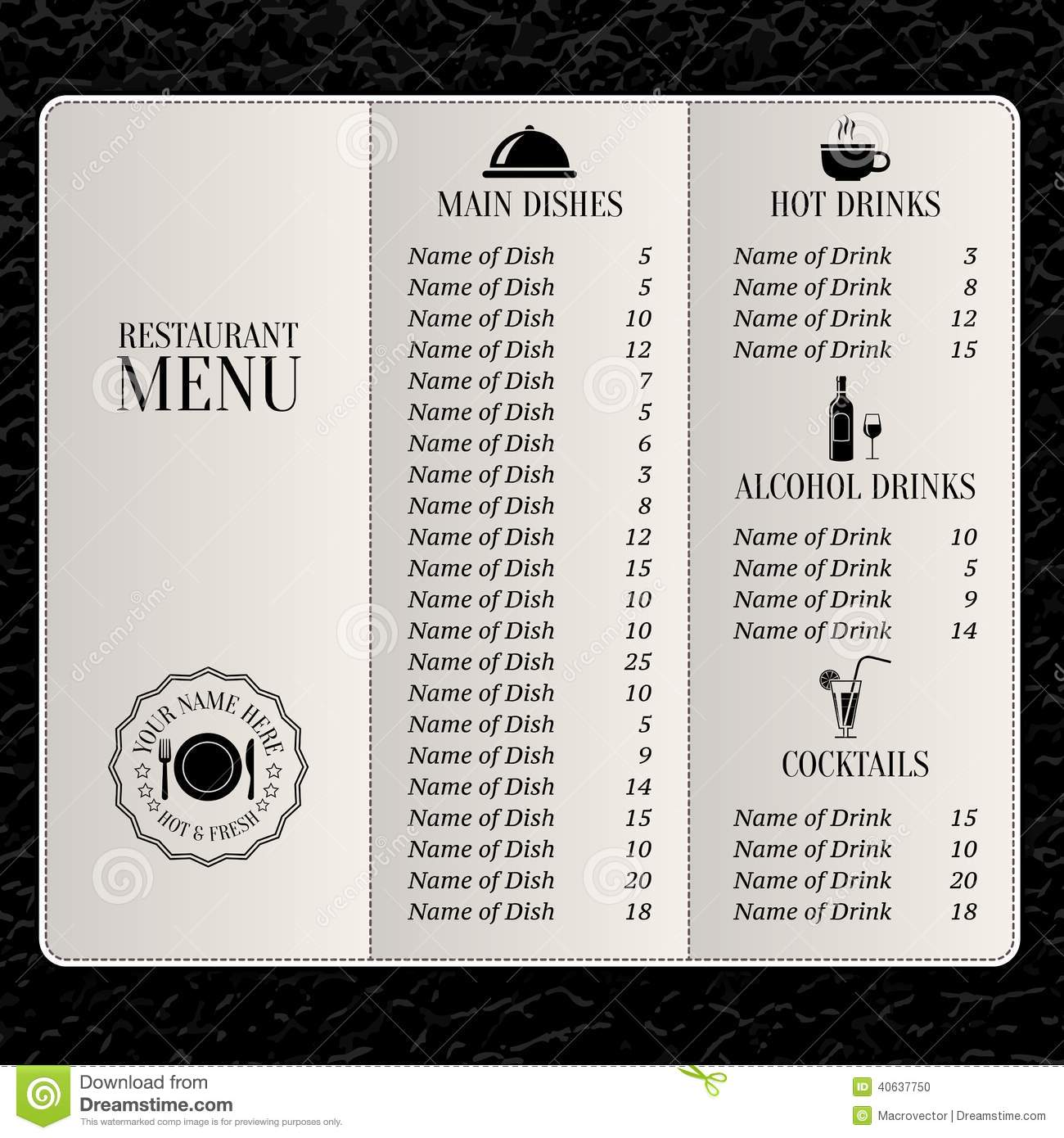 Drink Menu Templates Microsoft Word  Free Menu Templates Microsoft Word