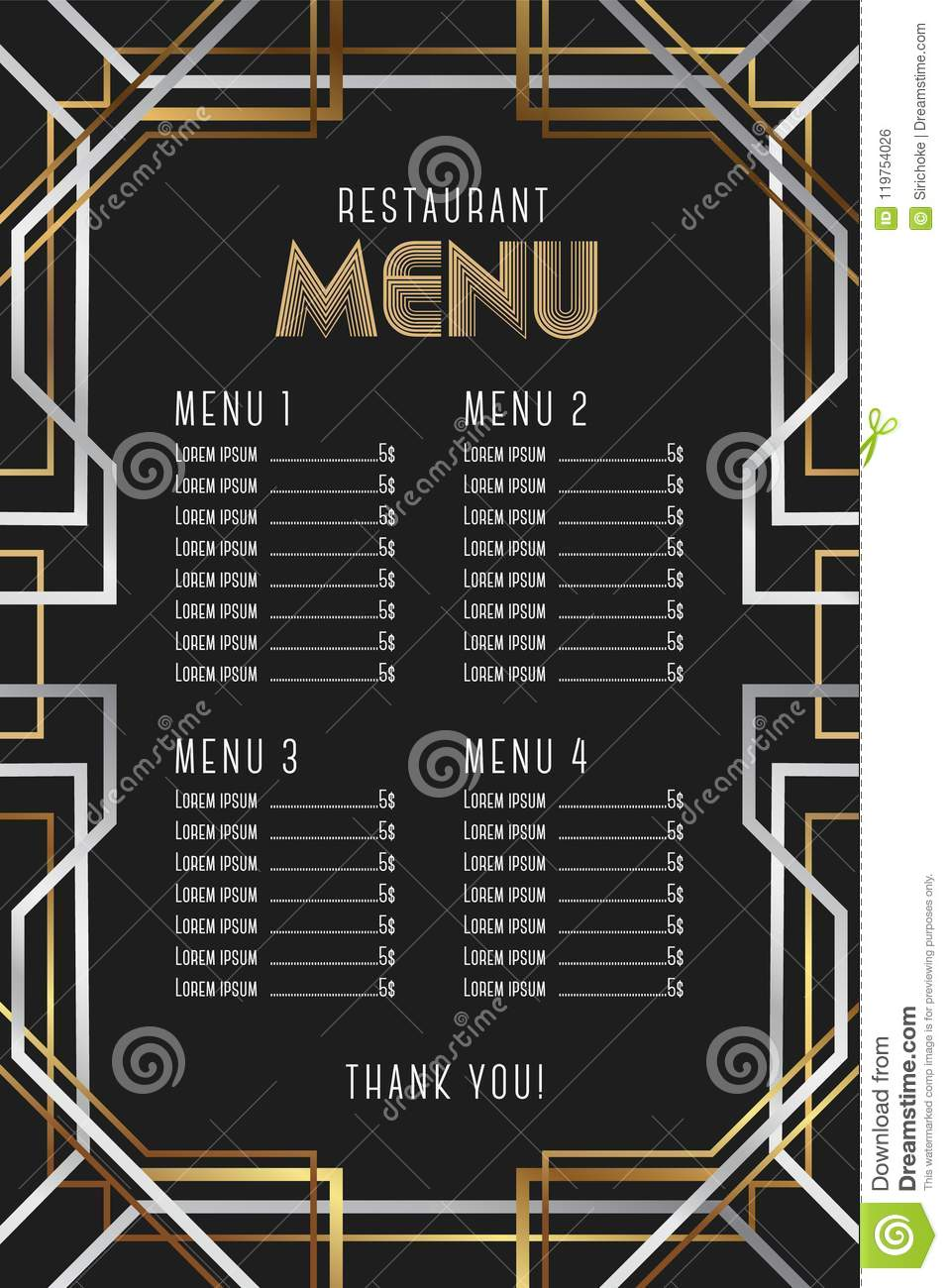 Restaurant Menu Template Luxury Vintage Artdeco Frame Design Stock Schematic