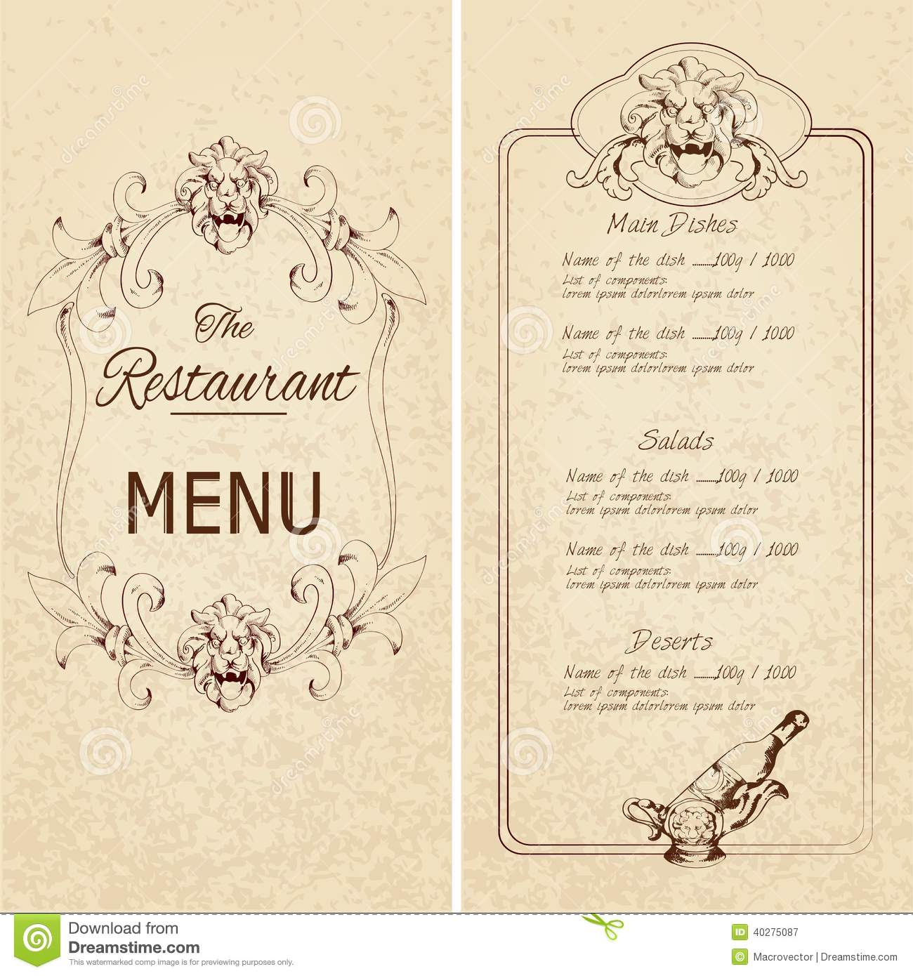 Restaurant menu template stock vector image of decorative