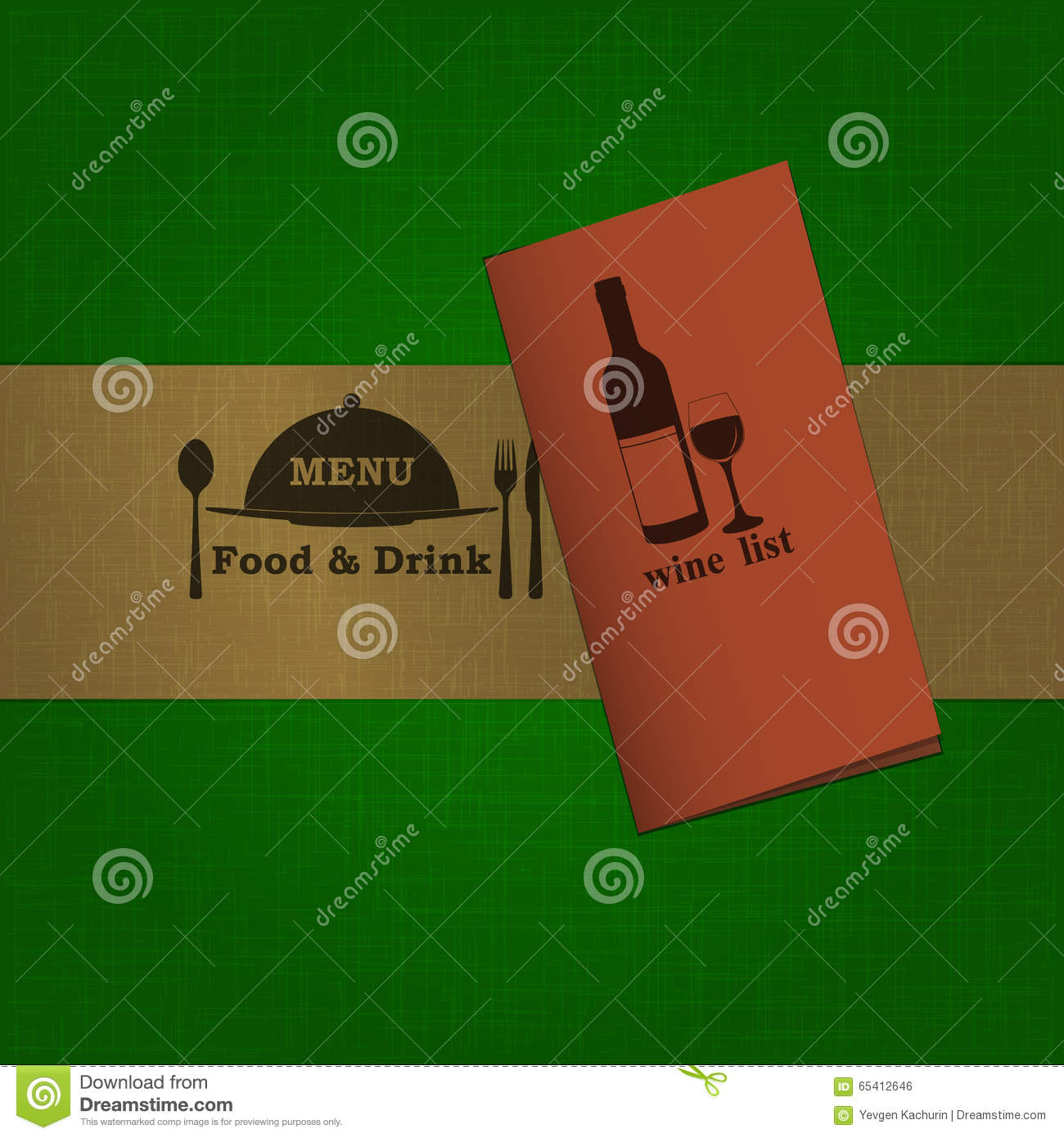 restaurant menu template with tape and booklet stock vector