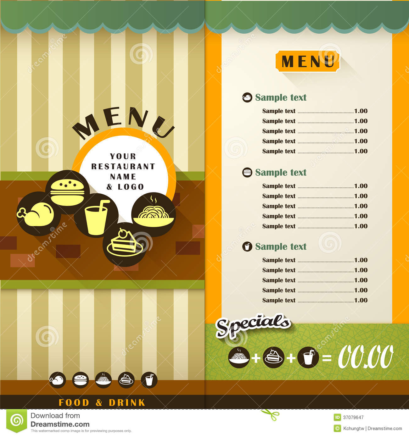 Restaurant menu stock vector illustration of cooking for Cafe menu design template free download
