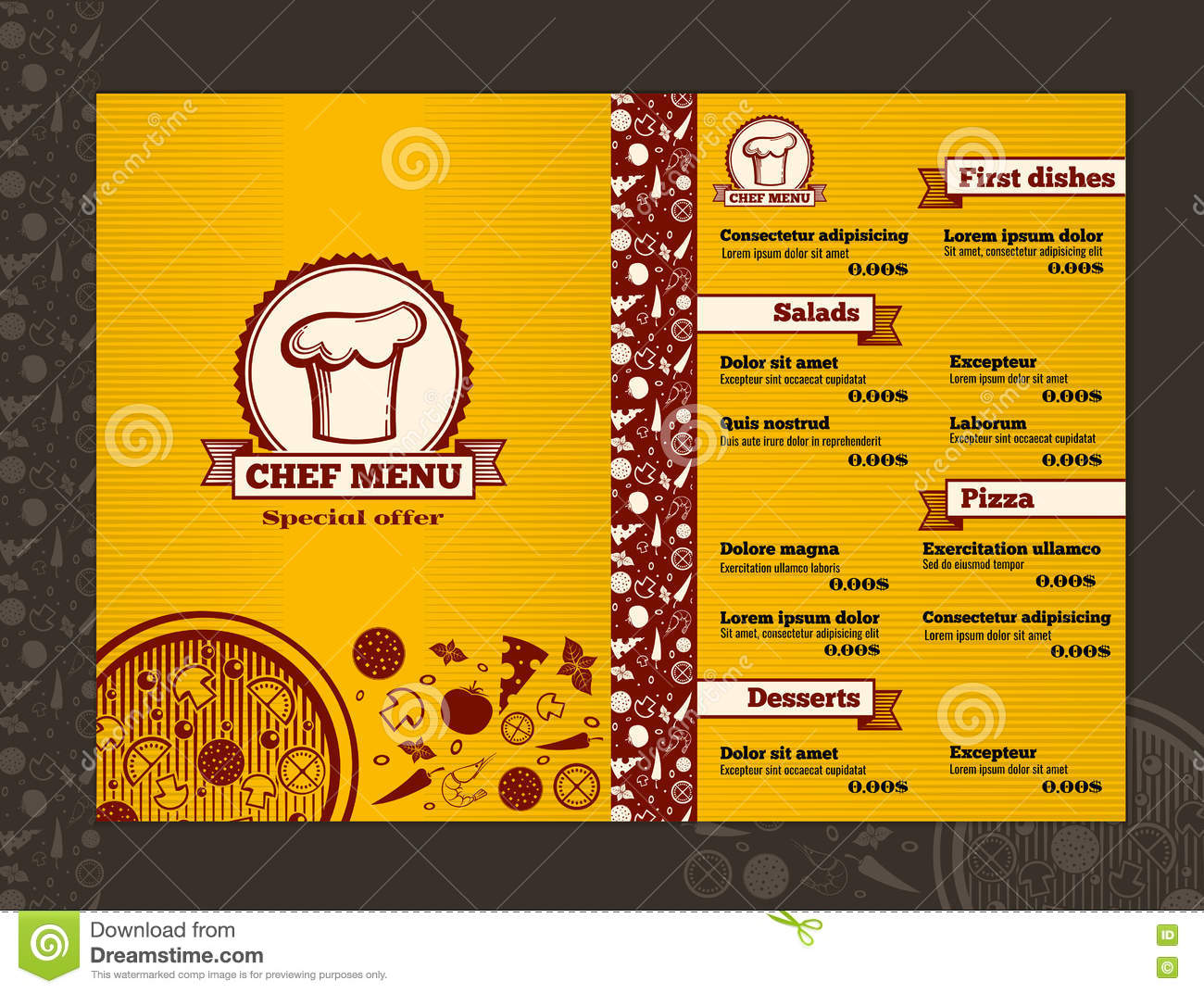 restaurant menu vector design template mockup stock vector