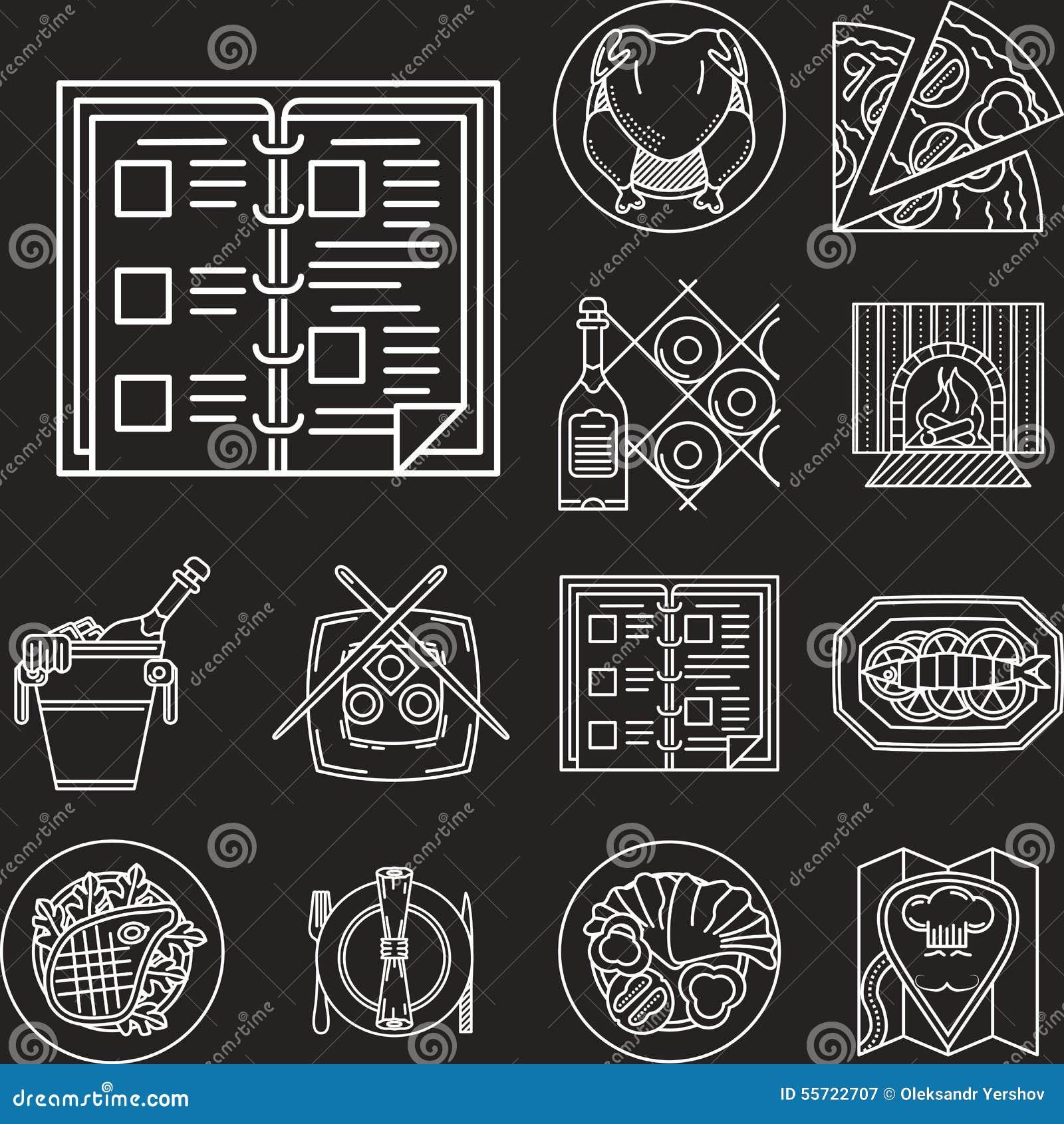 Restaurant menu white line icons stock illustration