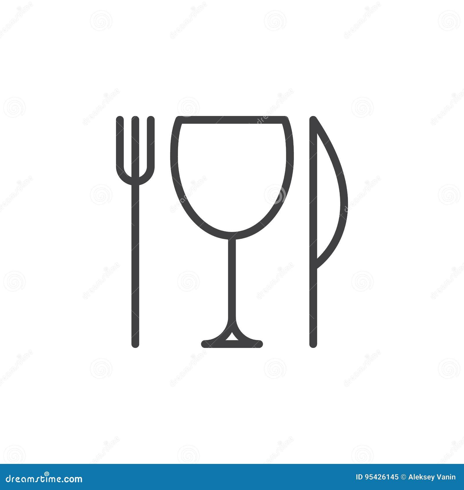Restaurant, Messen, vork en glaslijnpictogram, overzichts vectorteken, lineair die stijlpictogram op wit wordt geïsoleerd