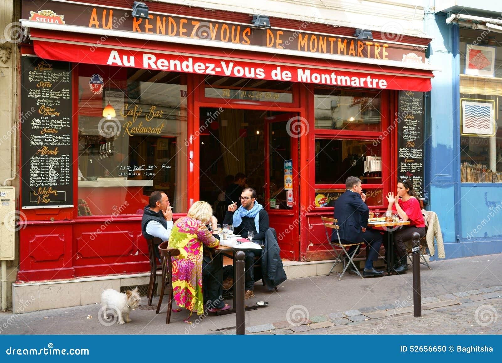Restaurant In Montmartre Paris Editorial Image Image Of Street Montmartre 52656650