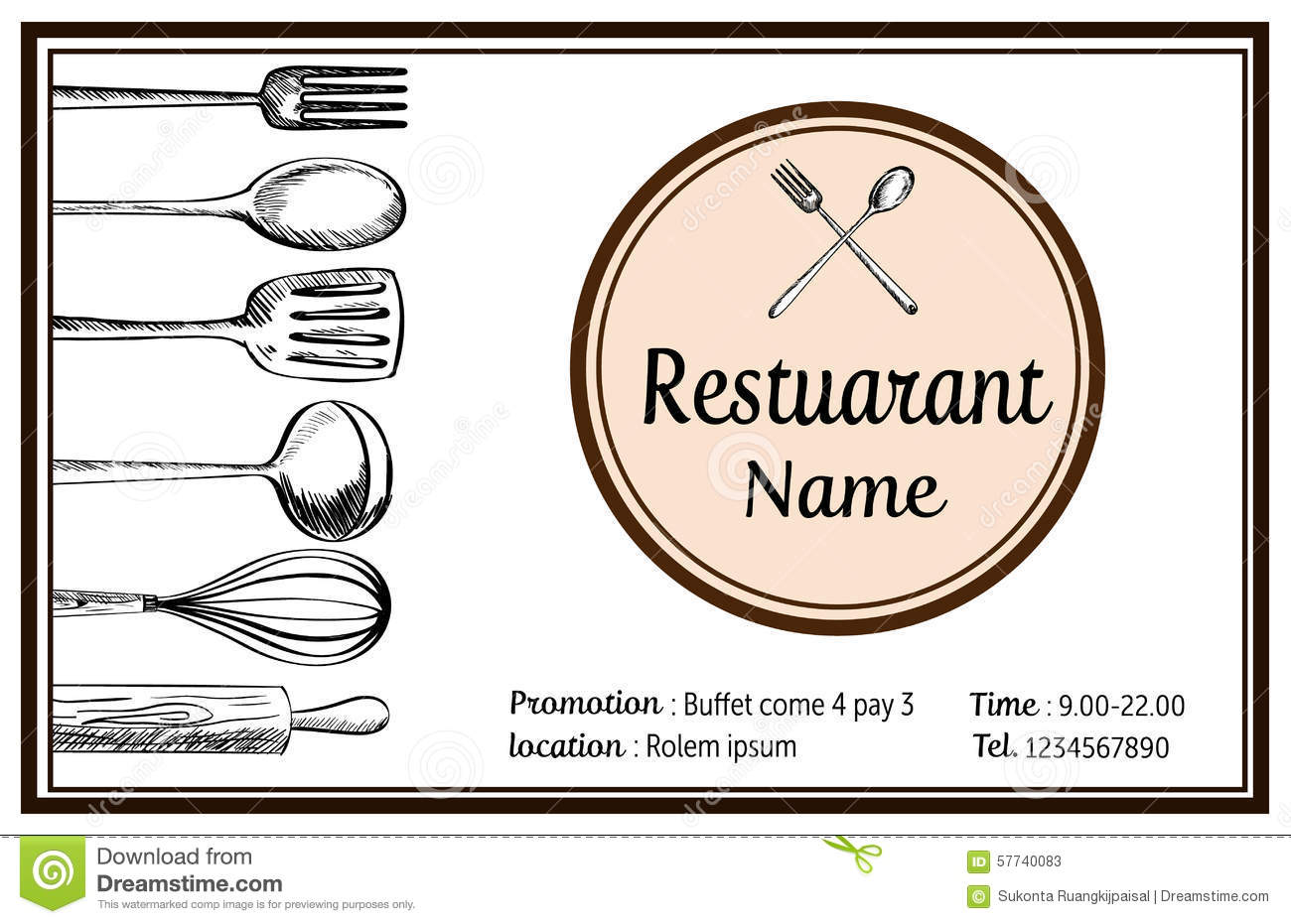 Restaurant Kitchenware restaurant name card hand drawn doodle vintage tyle vector stock