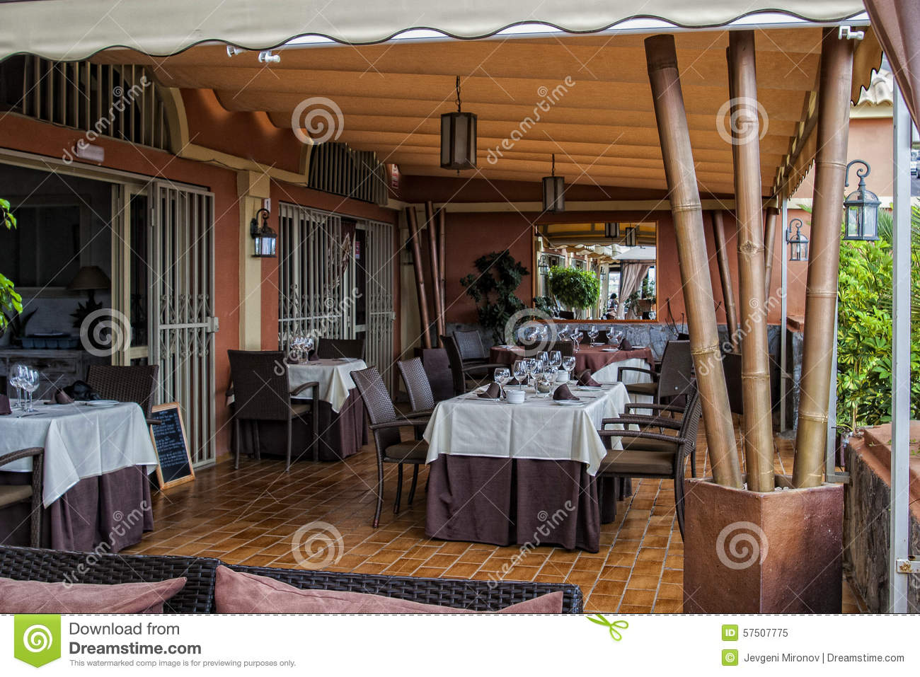 Restaurant open terrace stock photo image 57507775 for Open terrace restaurants