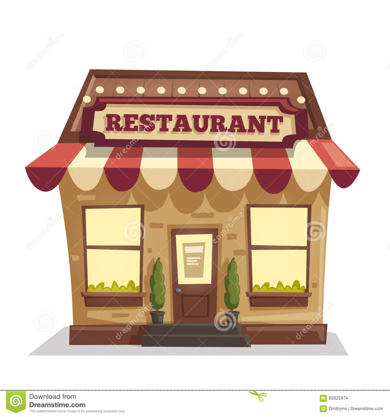 Restaurant ou caf b timent ext rieur illustration de for Exterieur restaurant
