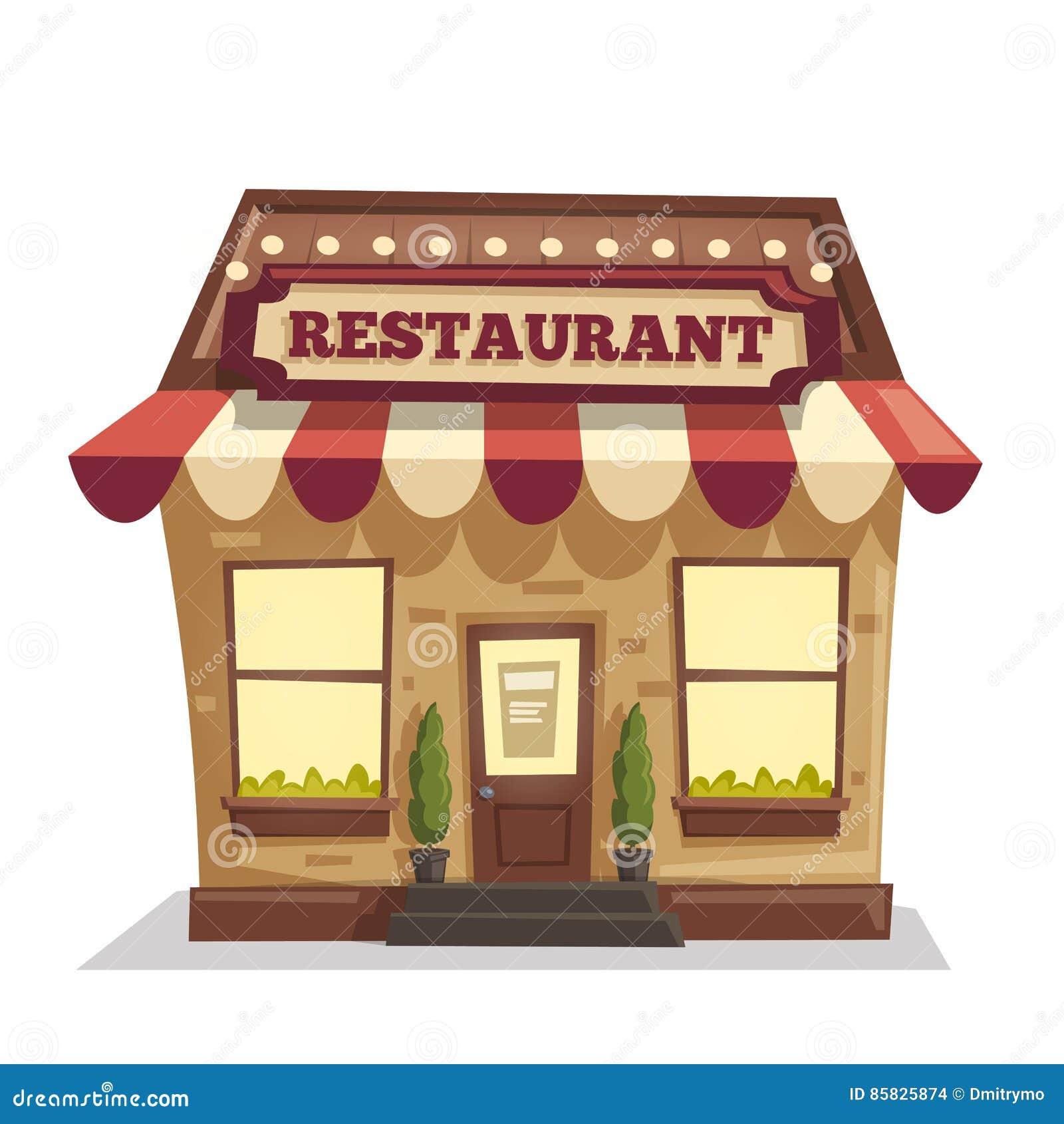 Restaurant ou café Bâtiment extérieur Illustration de dessin animé de vecteur