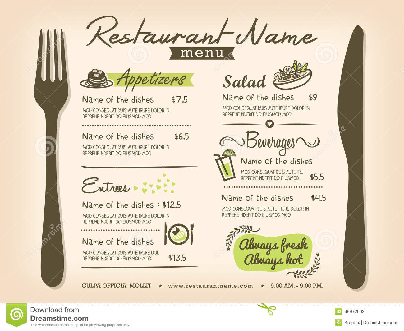 Restaurant Placemat Menu Vector Design Layout Stock
