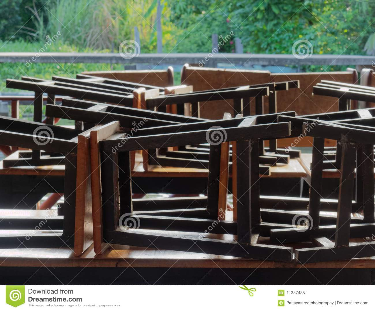 Restaurant On Raft By Canal In Countryside With Black Wooden And - Picnic table raft