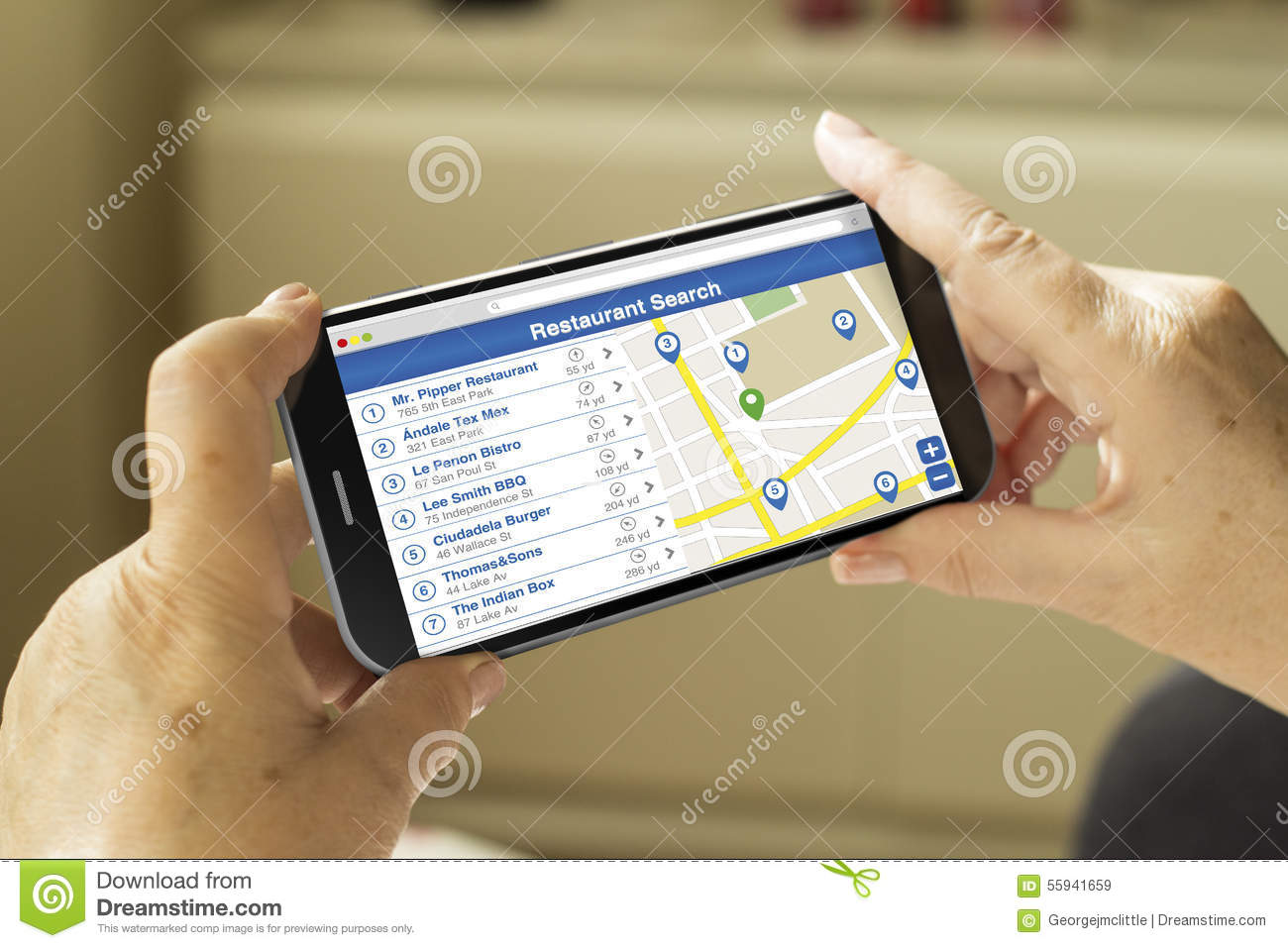 Restaurant Search Smartphone Stock Photo