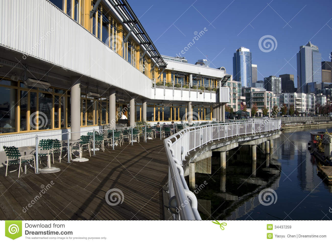 restaurant at seattle waterfront editorial stock image image