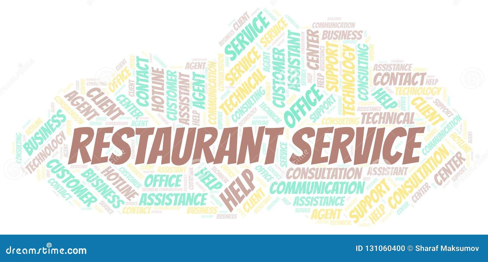 Restaurant Service Word Cloud  Stock Illustration