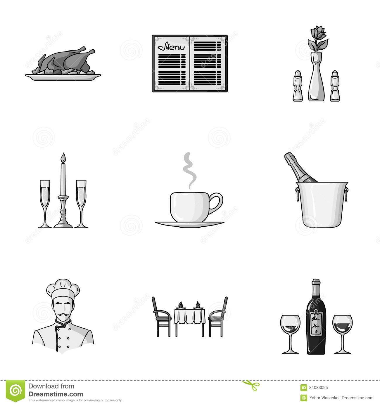 Restaurant set icons in monochrome style big collection