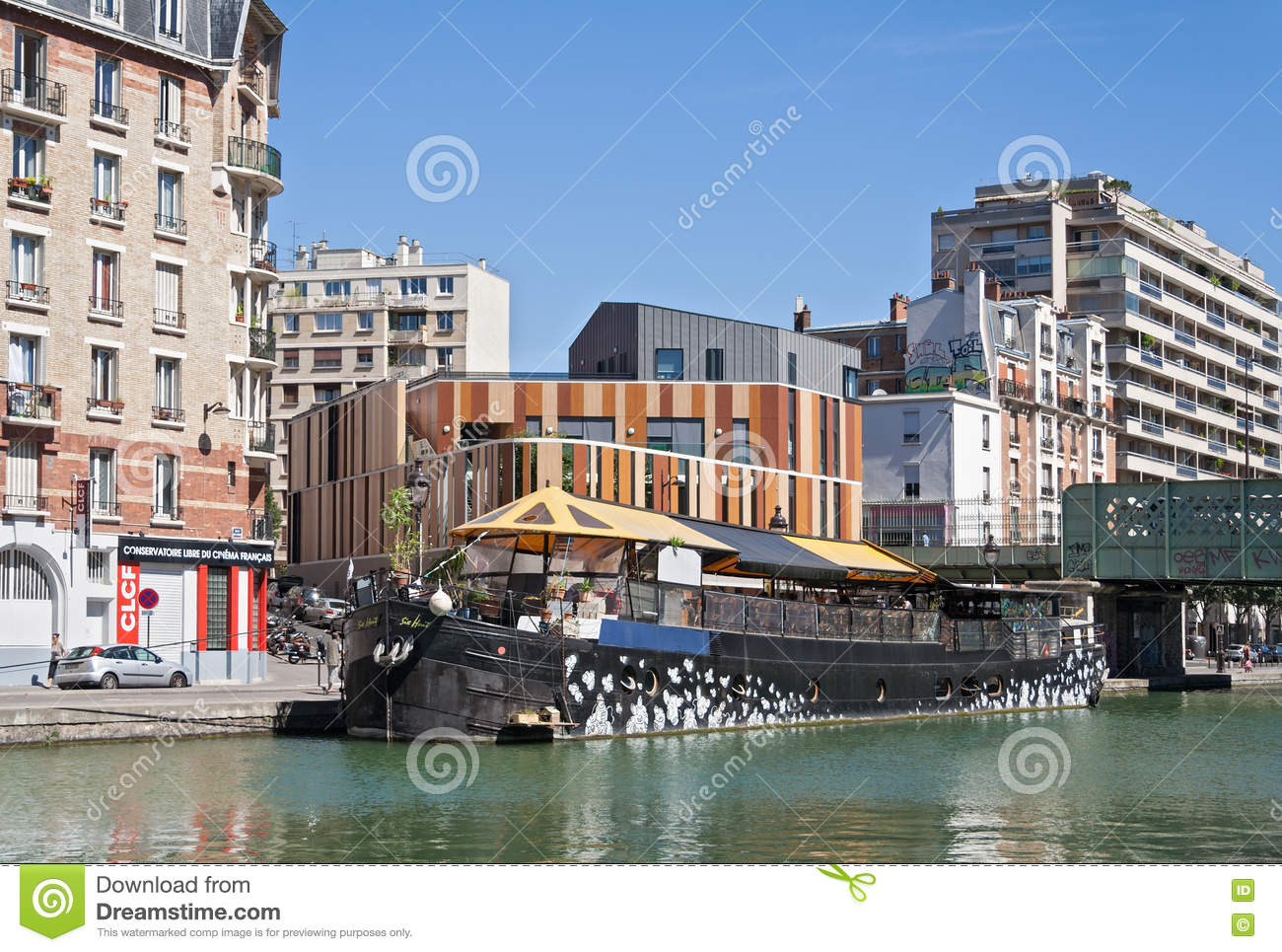 restaurant ship on the saint martin canal in paris editorial stock image image 75742749. Black Bedroom Furniture Sets. Home Design Ideas