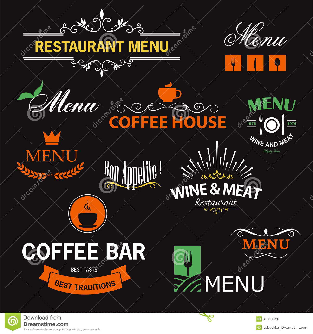 Restaurant signs stock vector image of lettering lunch