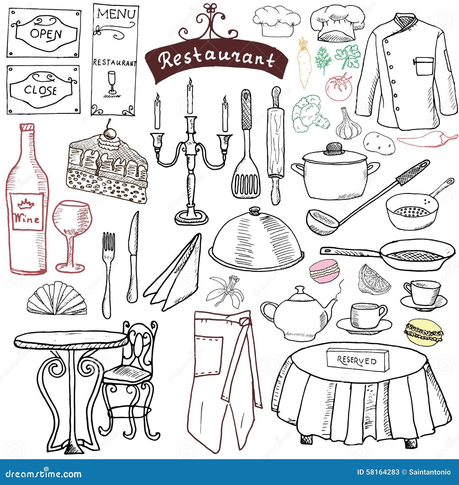 Restaurant Sketch Doodles Set. Hand Drawn Elements Food