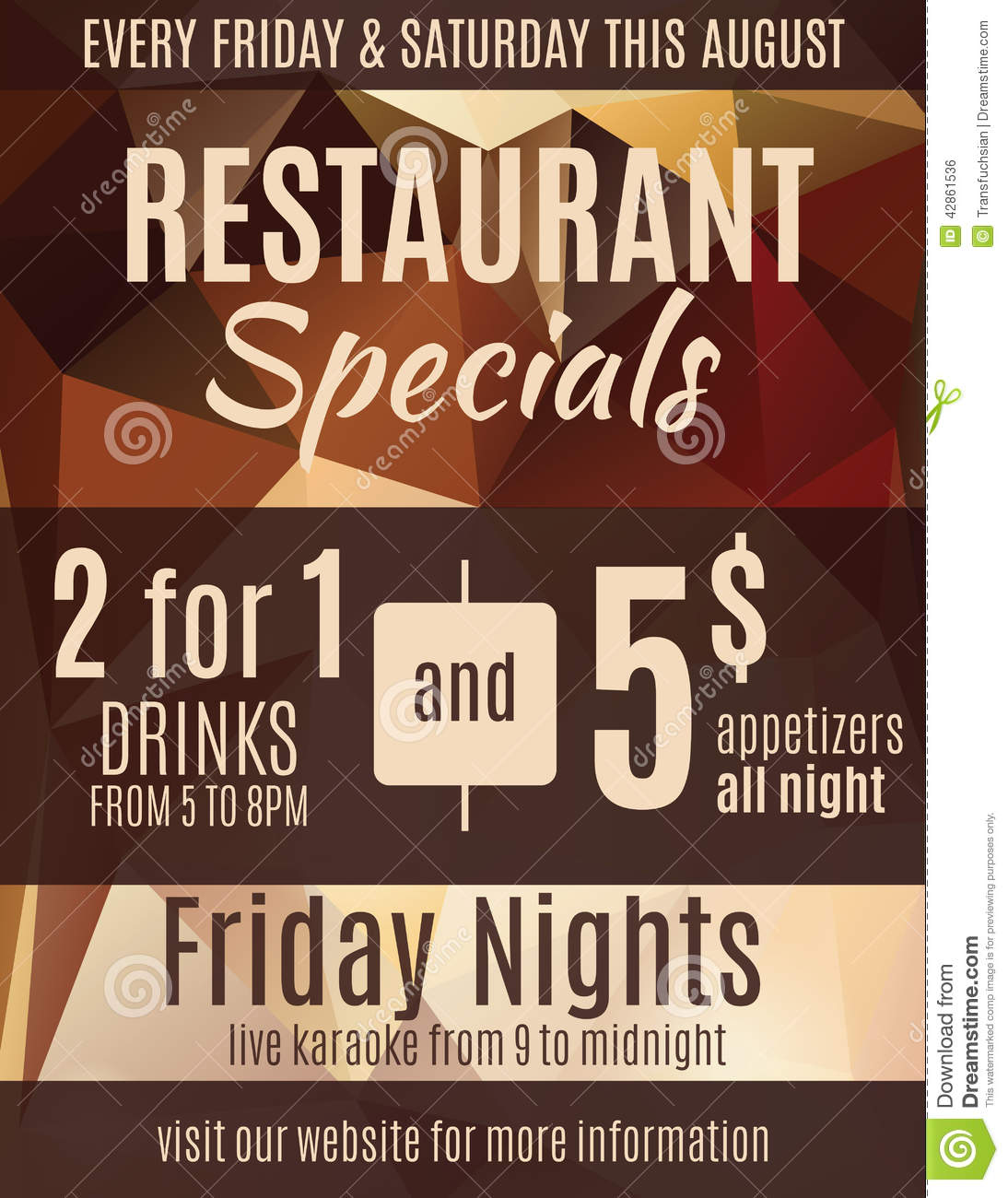Restaurant Special Sale Flyer Template Stock Vector