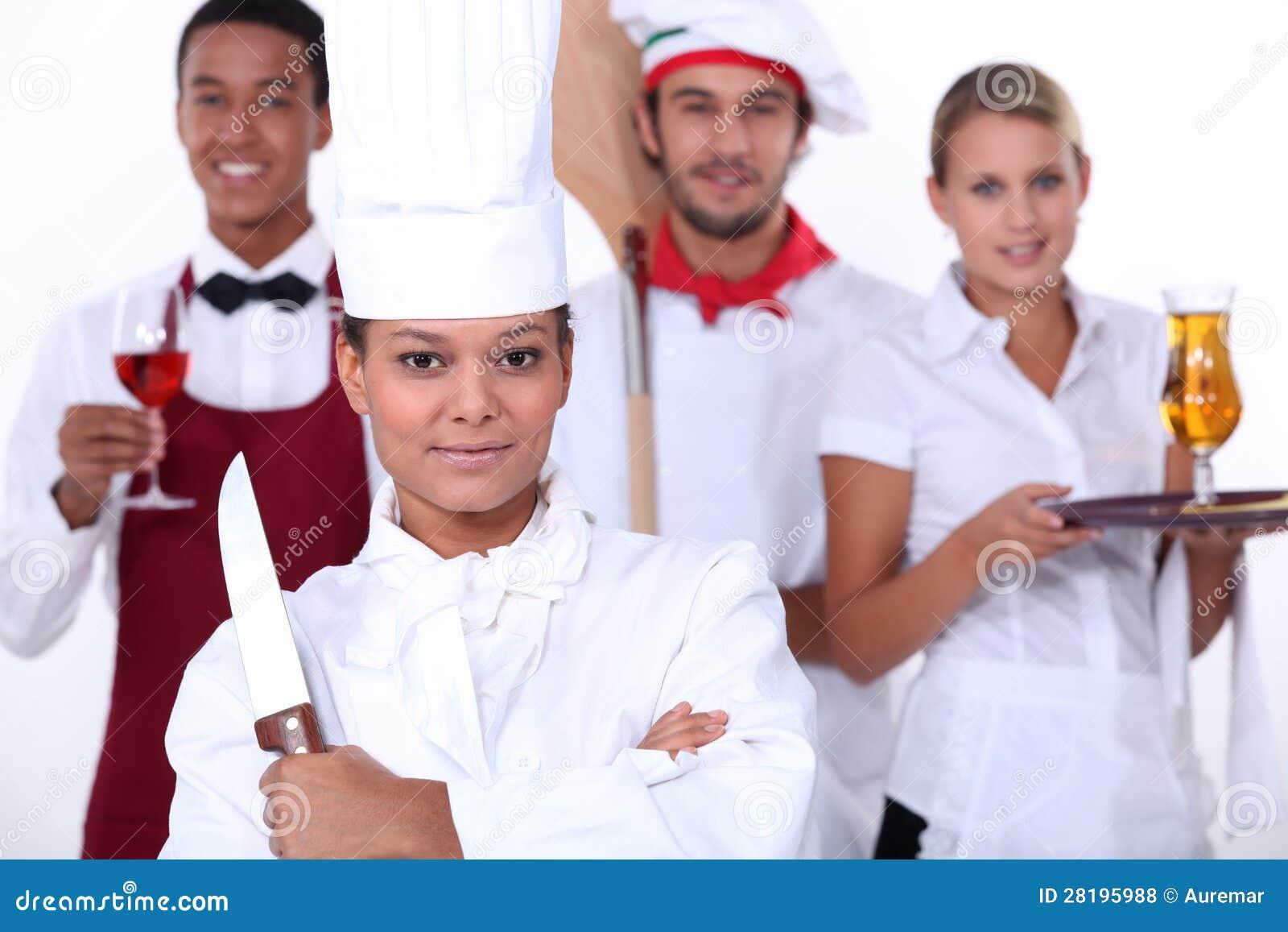 Restaurant Staff Stock Photo Image Of Happy Apron Four