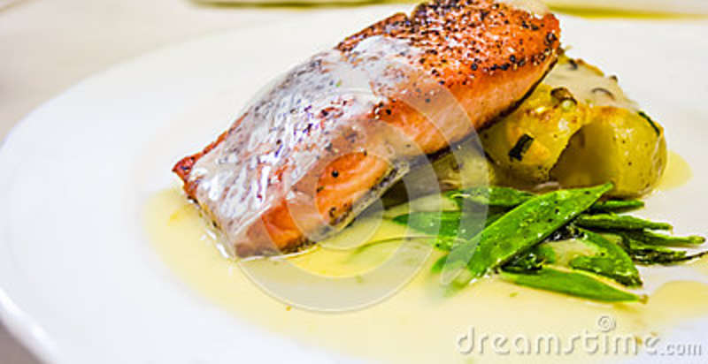 Restaurant Style Salmon Dinner Stock Photo Image Of Plated