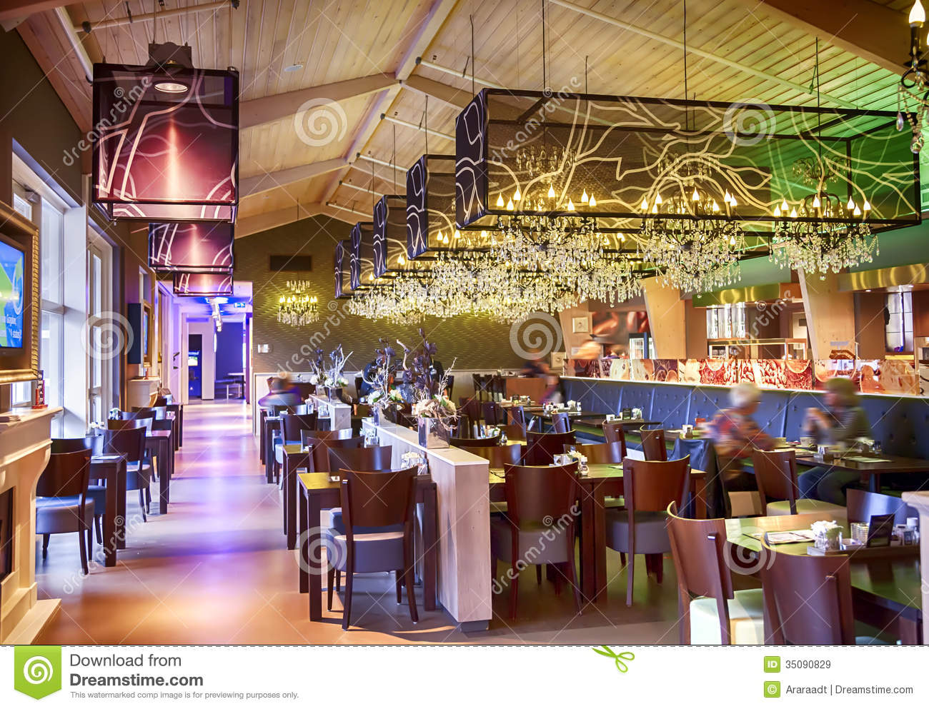 Restaurant with stylish decoration stock image of