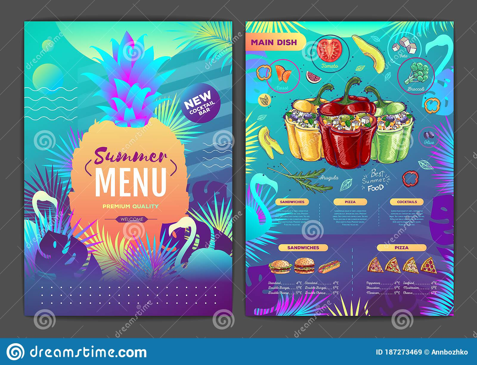 Restaurant Summer Tropical Gradient Menu Design With Fluorescent Tropic Leaves And Flamingo Fast Food Menu Stock Vector Illustration Of Corporate Beach 187273469