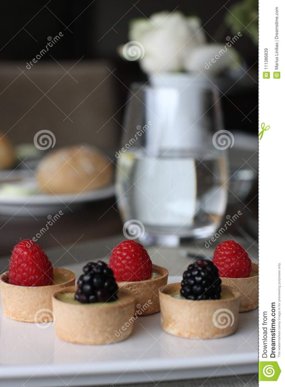 Restaurant sweet bites, small sweet berrie cups