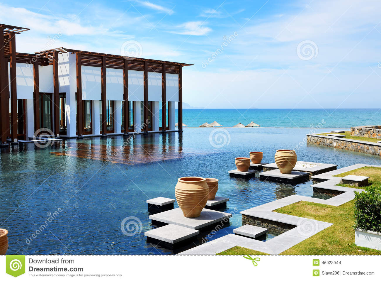 The Restaurant And Swimming Pool Near Beach At Luxury Hotel Stock Photo Image 46923944