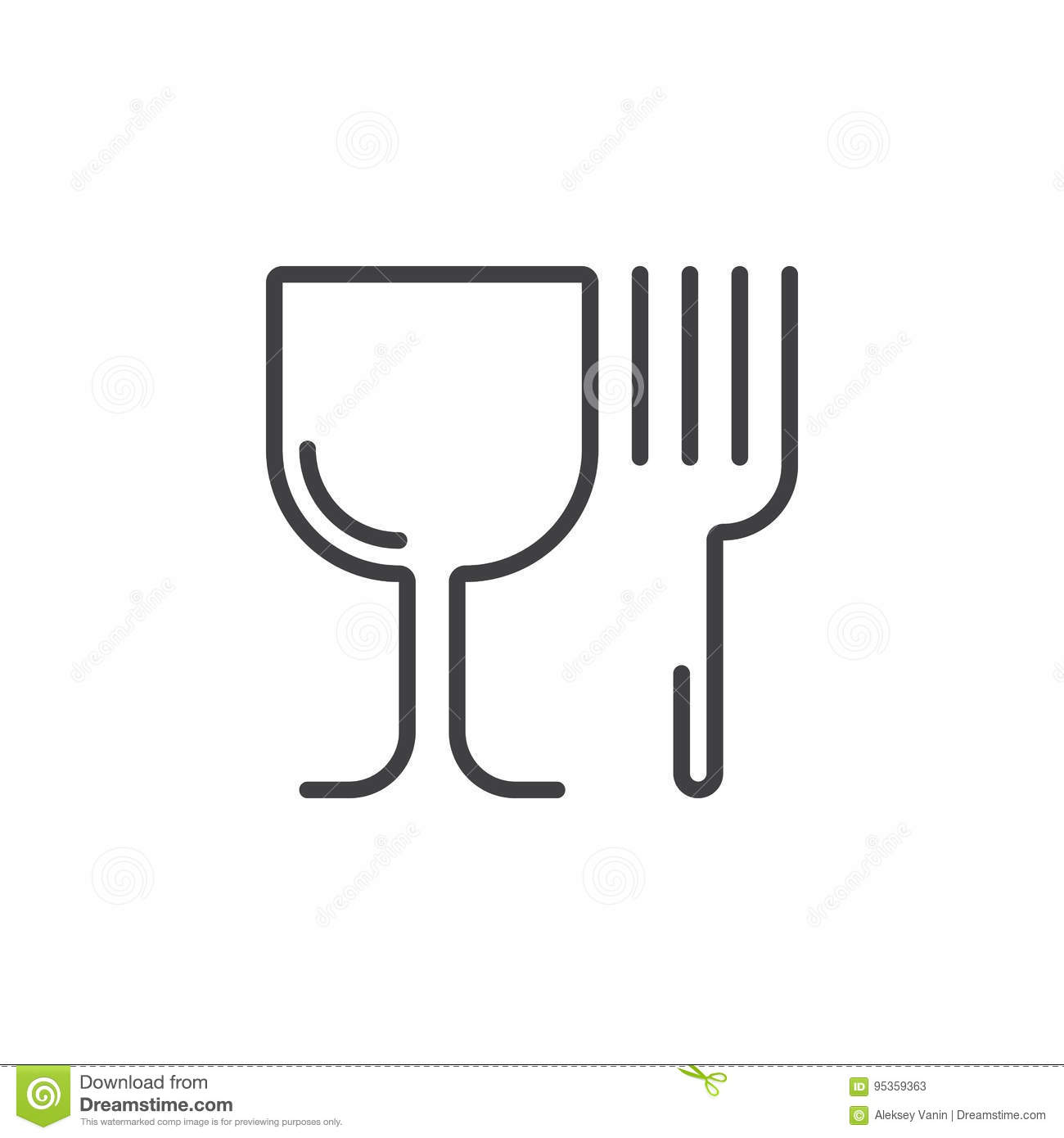 Restaurant Symbol Wineglass And Fork Line Icon Outline Vector
