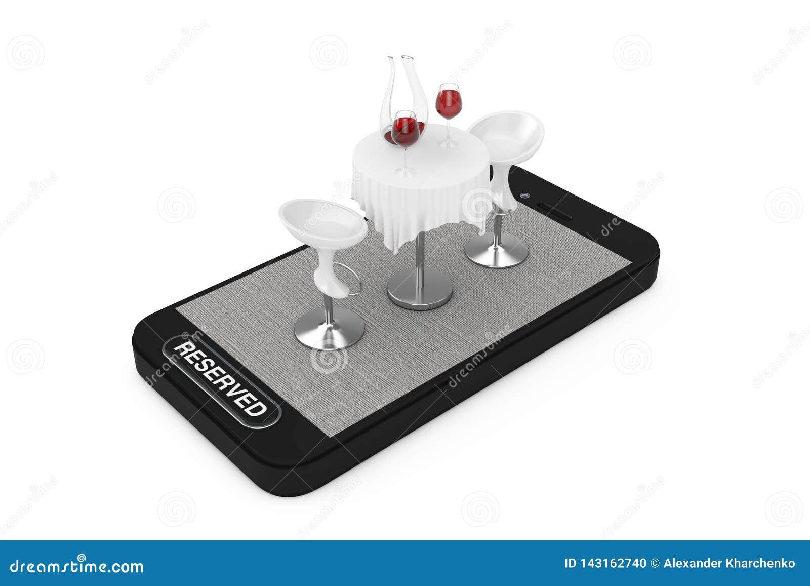 Restaurant Tabelle Und Sthle Mit Rotwein Auf Smartphone Handy Und Reserviertem Knopf Wiedergabe ...