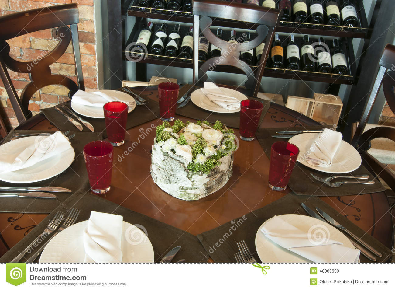 Restaurant Table With Flower Decor Stock Photo Image 46806330