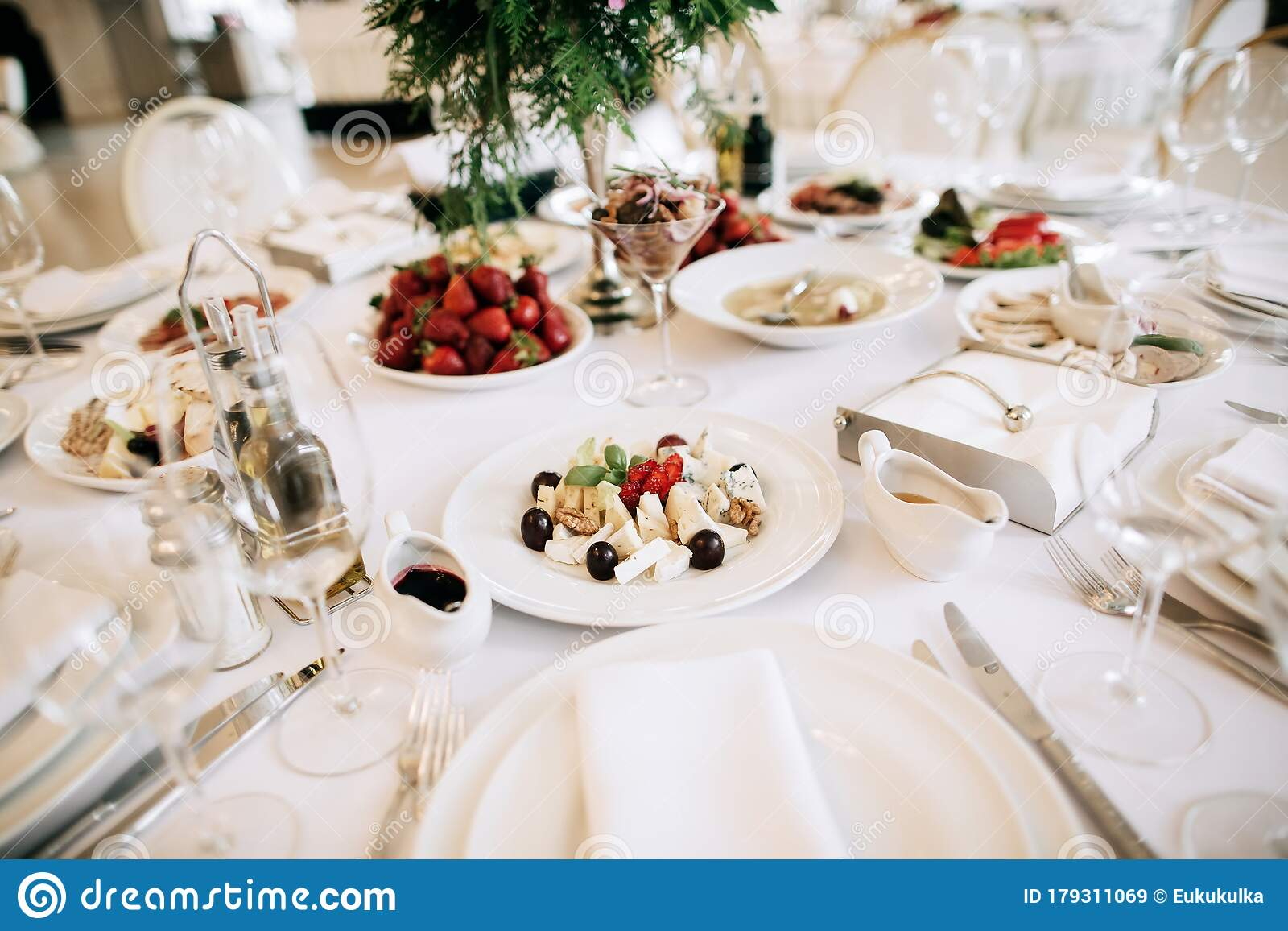 Restaurant Table With Food Catering Service Wedding Celebration Decoration Dinner Time Lunch Stock Image Image Of Cafeteria Festive 179311069