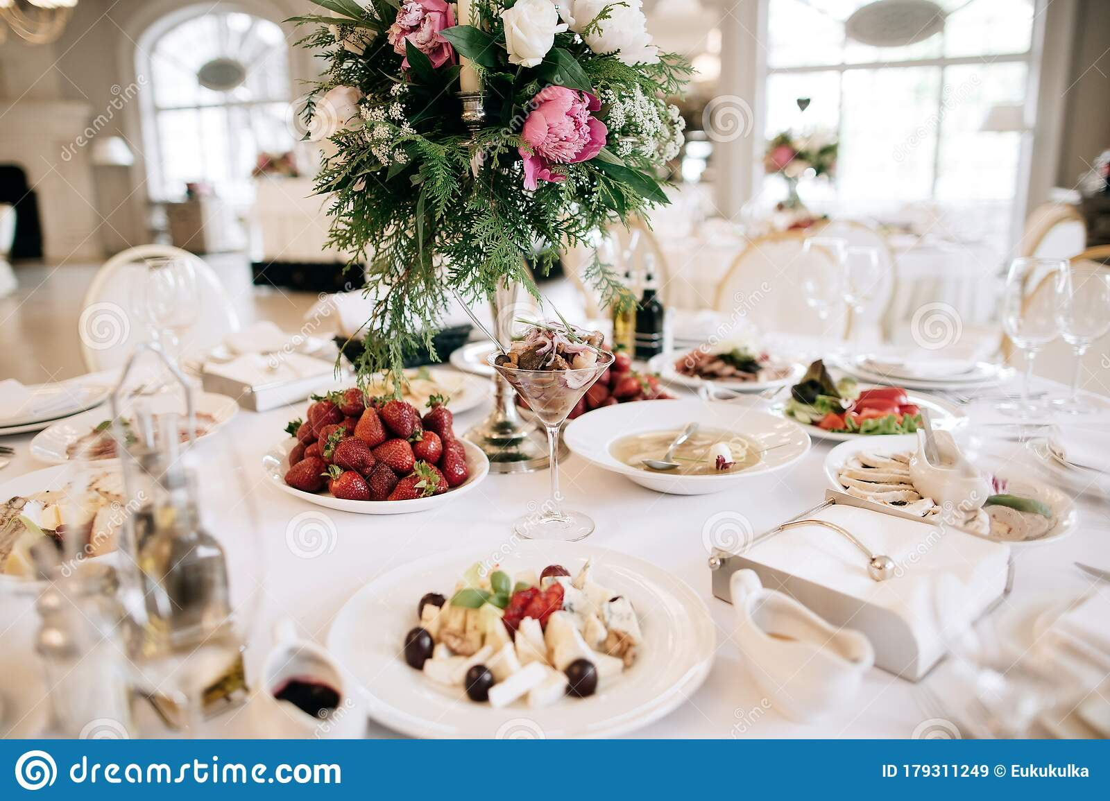 Restaurant Table With Food Catering Service Wedding Celebration Decoration Dinner Time Lunch Stock Image Image Of Cook Flowers 179311249