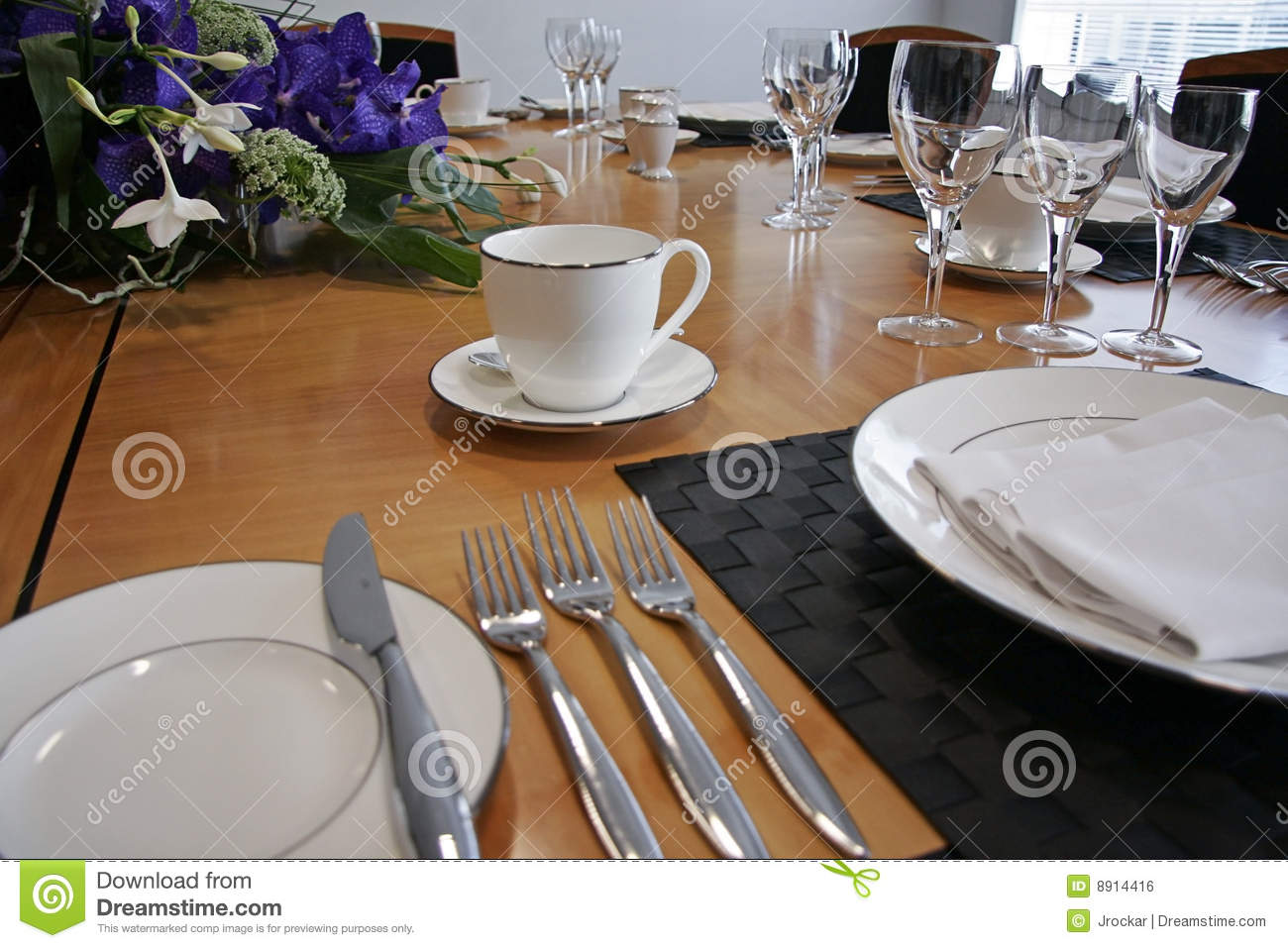 Restaurant Table Setup With Cut Flowers Royalty Free Stock
