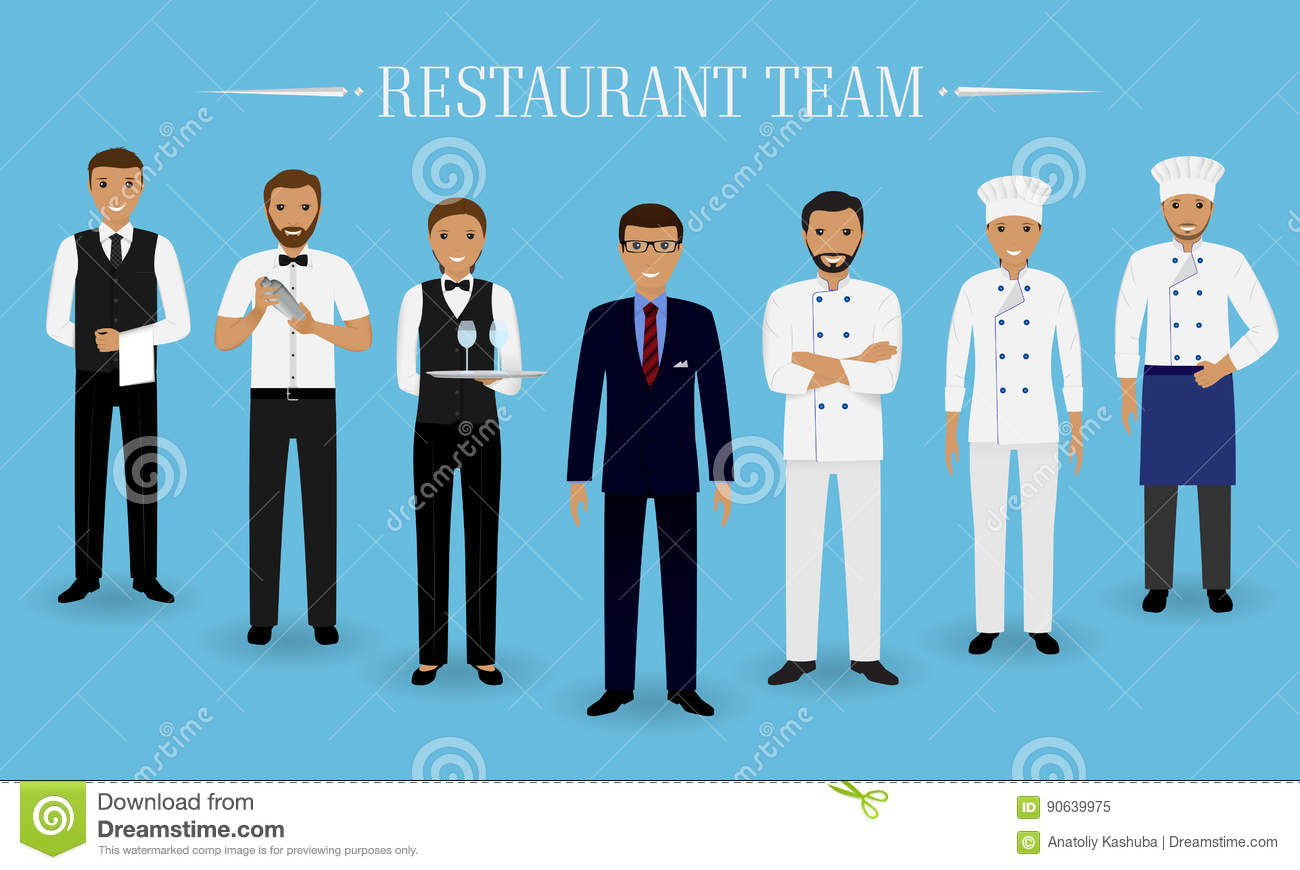 Restaurant team concept. Group of characters standing together: manager, chef, cook, two waiters and barman in uniform.